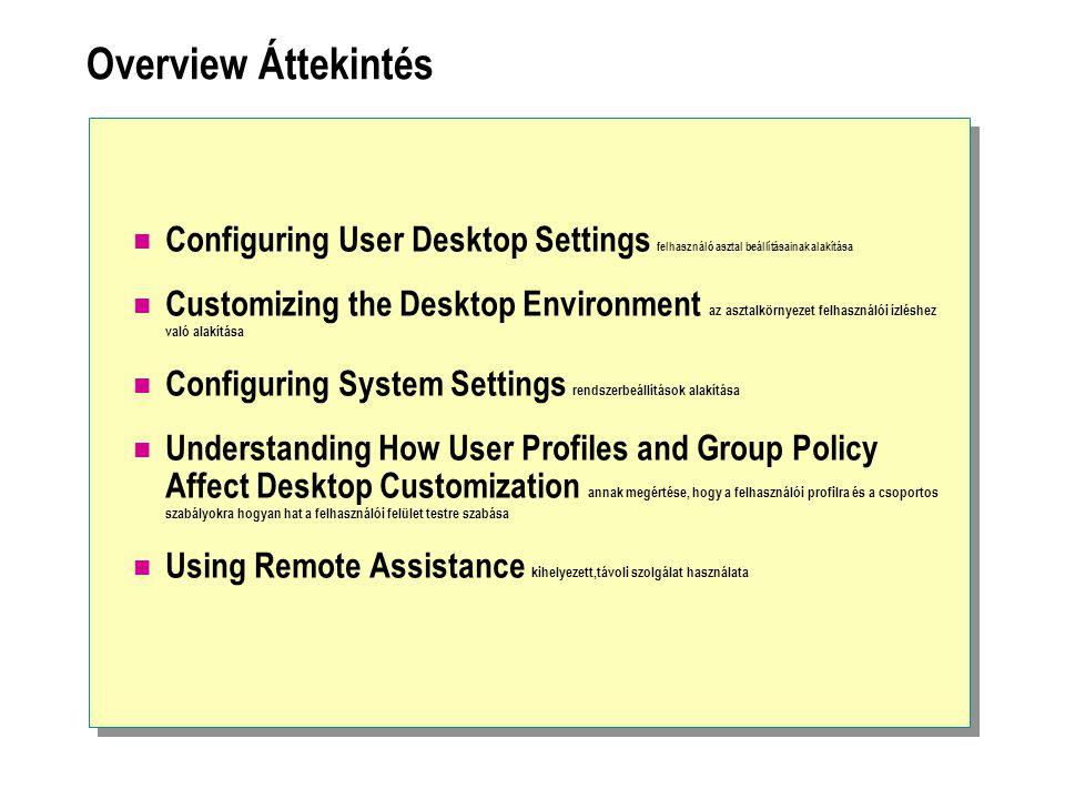 Overview Áttekintés Configuring User Desktop Settings felhasználó asztal beállításainak alakítása Customizing the Desktop Environment az asztalkörnyezet felhasználói ízléshez való alakítása Configuring System Settings rendszerbeállítások alakítása Understanding How User Profiles and Group Policy Affect Desktop Customization annak megértése, hogy a felhasználói profilra és a csoportos szabályokra hogyan hat a felhasználói felület testre szabása Using Remote Assistance kihelyezett,távoli szolgálat használata