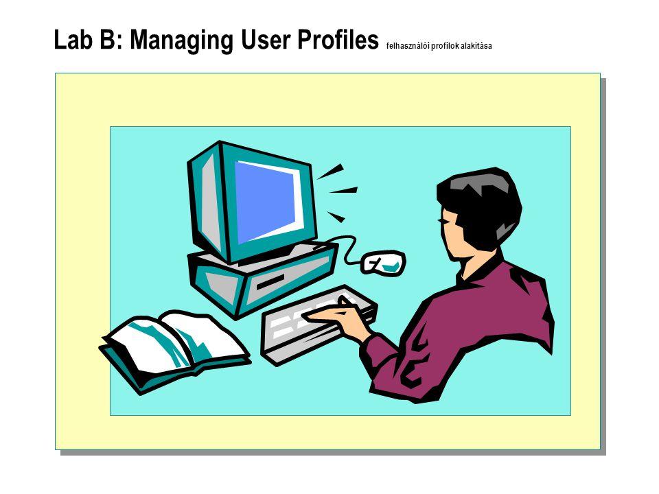 Lab B: Managing User Profiles felhasználói profilok alakítása