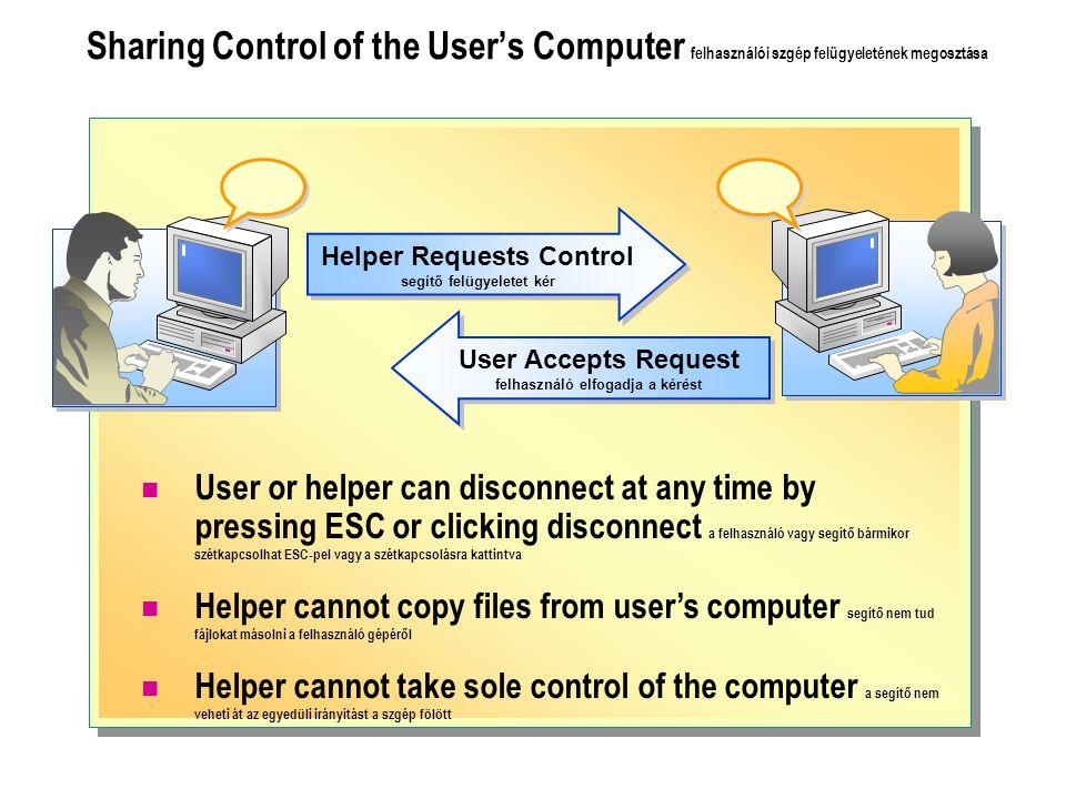 Helper Requests Control segítő felügyeletet kér User Accepts Request felhasználó elfogadja a kérést Sharing Control of the User's Computer felhasználói szgép felügyeletének megosztása User or helper can disconnect at any time by pressing ESC or clicking disconnect a felhasználó vagy segítő bármikor szétkapcsolhat ESC-pel vagy a szétkapcsolásra kattintva Helper cannot copy files from user's computer segítő nem tud fájlokat másolni a felhasználó gépéről Helper cannot take sole control of the computer a segítő nem veheti át az egyedüli irányítást a szgép fölött