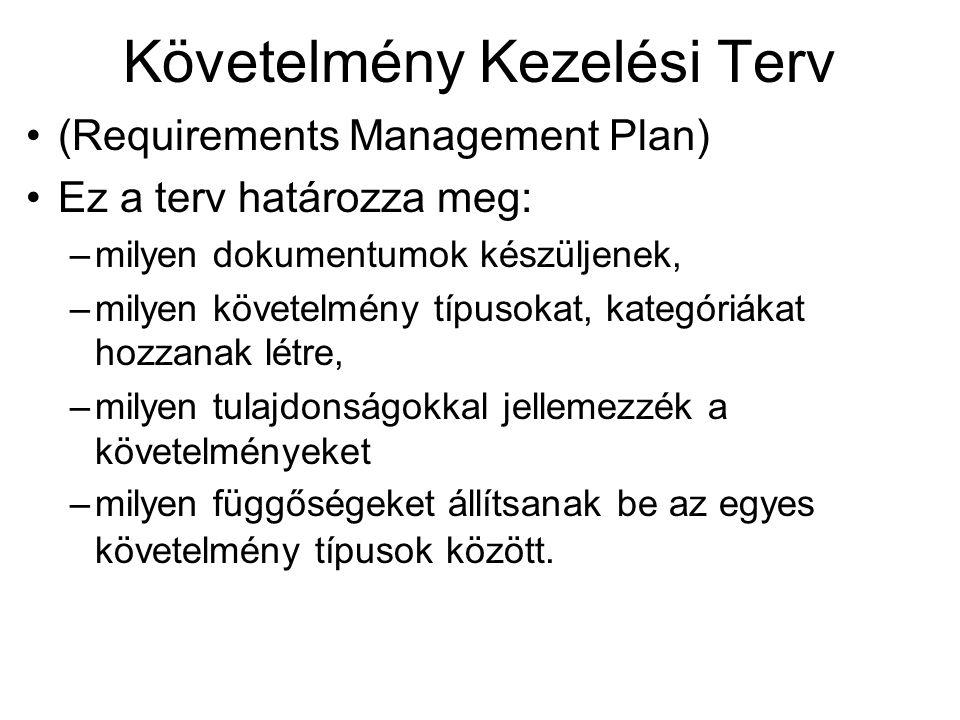 Követelmény Kezelési Terv (Requirements Management Plan) Ez a terv határozza meg: –milyen dokumentumok készüljenek, –milyen követelmény típusokat, kat