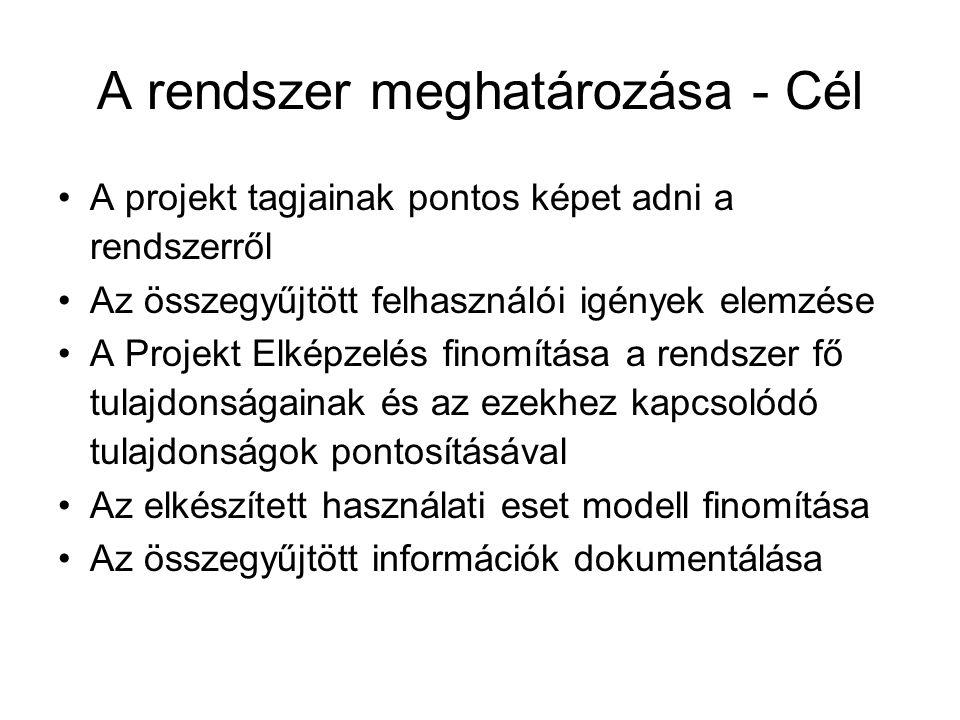 A rendszer meghatározása - Cél A projekt tagjainak pontos képet adni a rendszerről Az összegyűjtött felhasználói igények elemzése A Projekt Elképzelés