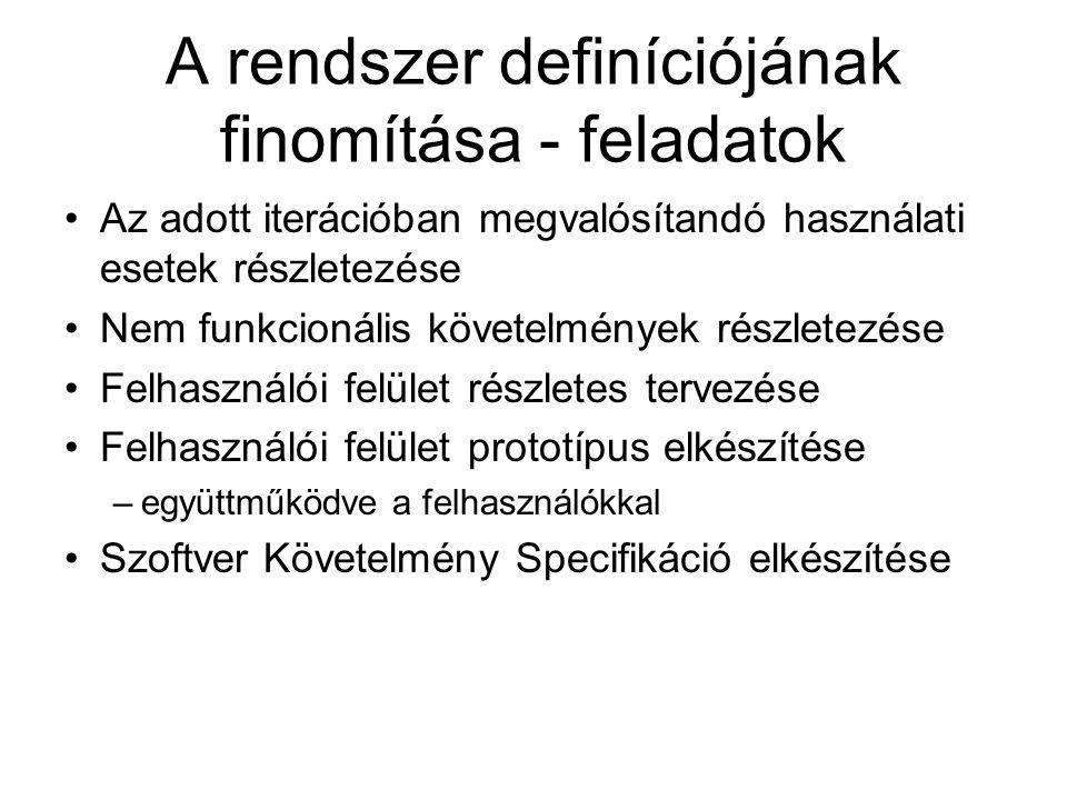 A rendszer definíciójának finomítása - feladatok Az adott iterációban megvalósítandó használati esetek részletezése Nem funkcionális követelmények rés