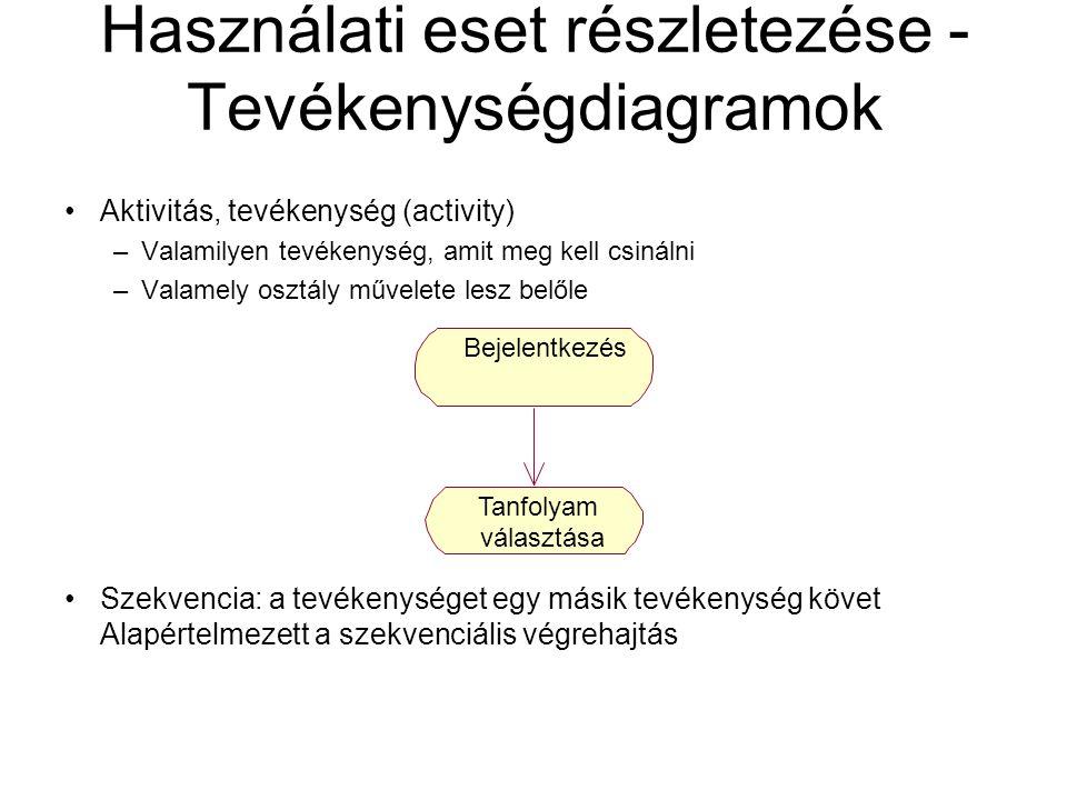 Használati eset részletezése - Tevékenységdiagramok Aktivitás, tevékenység (activity) –Valamilyen tevékenység, amit meg kell csinálni –Valamely osztál