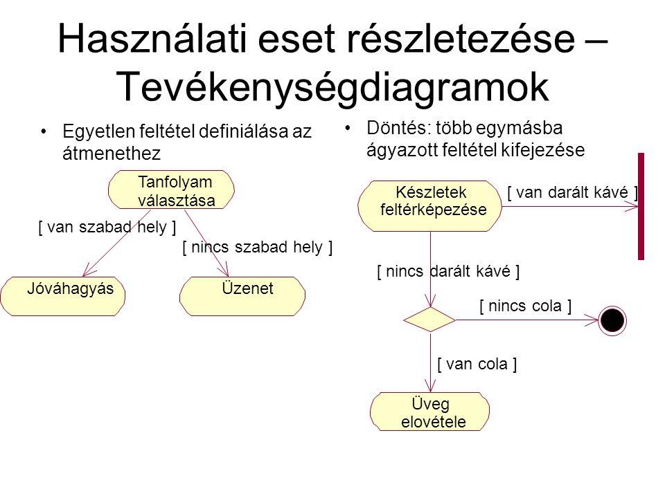 Használati eset részletezése – Tevékenységdiagramok Egyetlen feltétel definiálása az átmenethez Döntés: több egymásba ágyazott feltétel kifejezése Kés