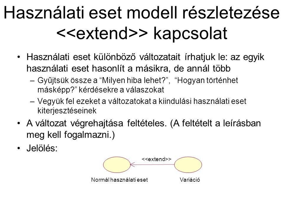 Használati eset modell részletezése > kapcsolat Használati eset különböző változatait írhatjuk le: az egyik használati eset hasonlít a másikra, de ann