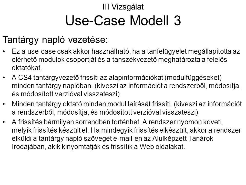 III Vizsgálat Use-Case Modell 3 Ez a use-case csak akkor használható, ha a tanfelügyelet megállapította az elérhető modulok csoportját és a tanszékvez