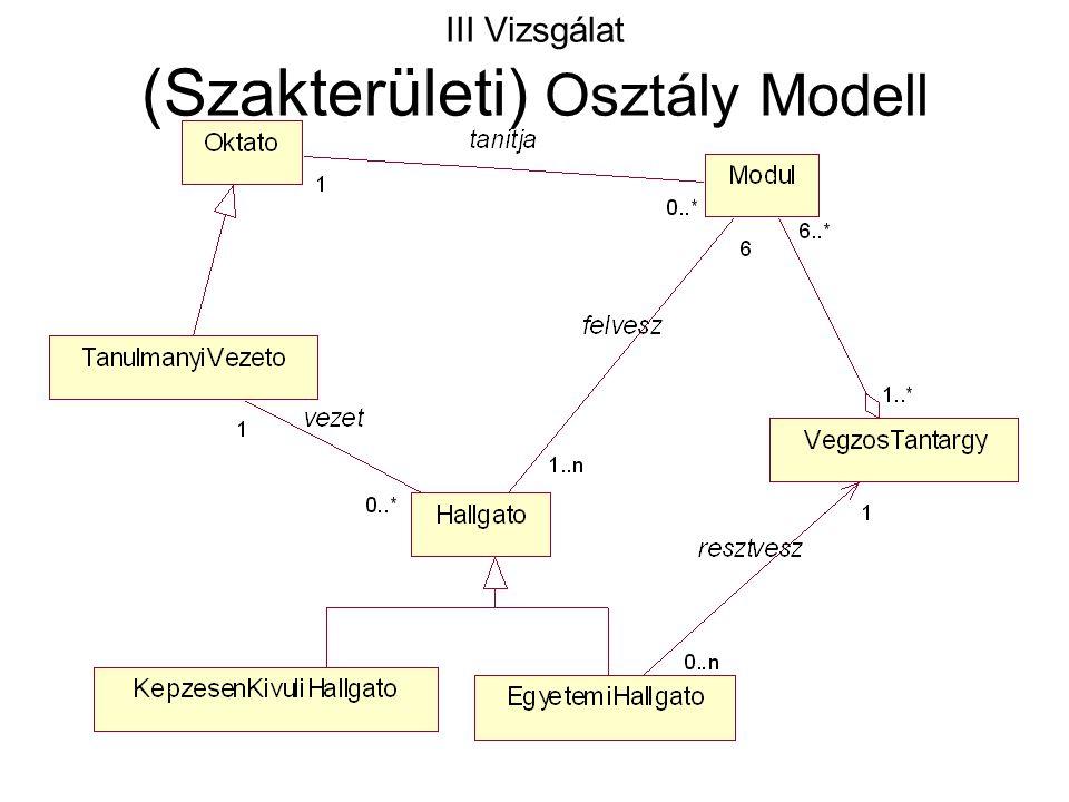 III Vizsgálat (Szakterületi) Osztály Modell