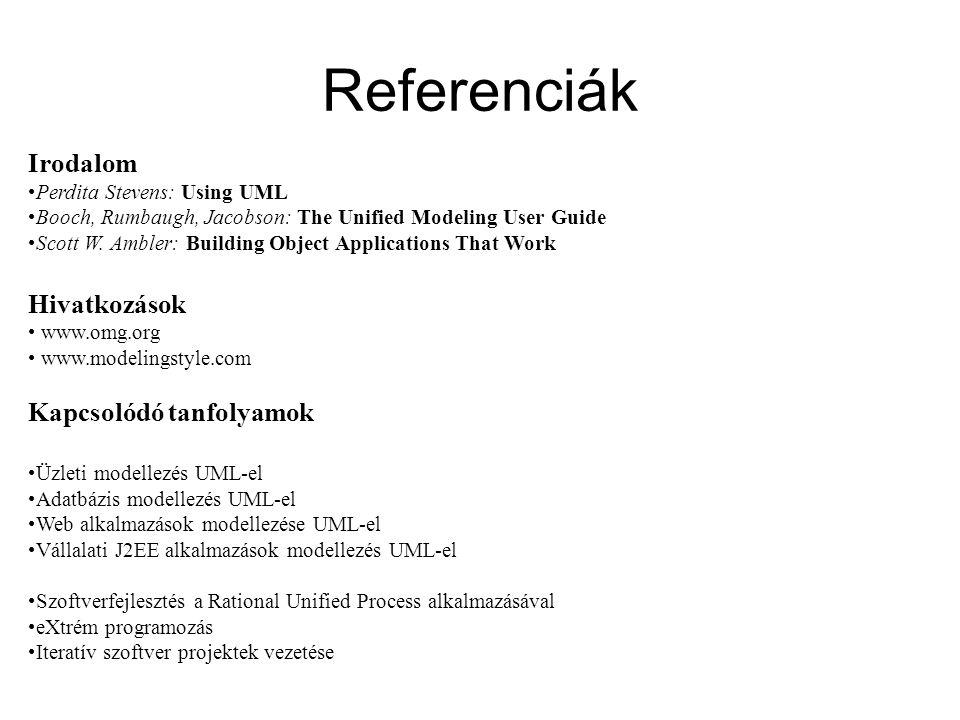 O K T A T Ó K Ö Z P O N T K F T. Irodalom Perdita Stevens: Using UML Booch, Rumbaugh, Jacobson: The Unified Modeling User Guide Scott W. Ambler: Build