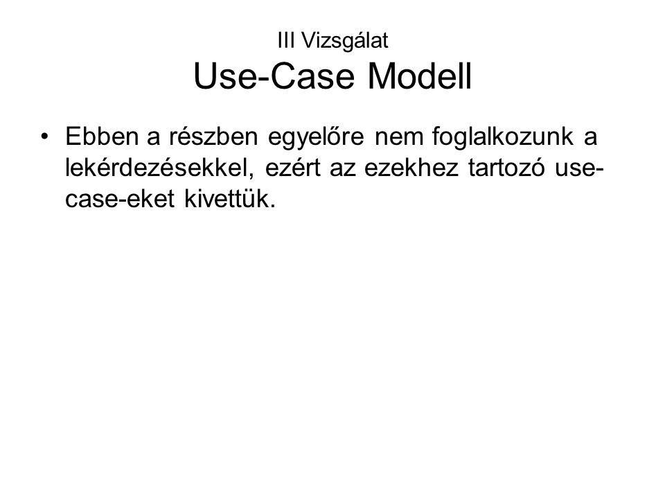 III Vizsgálat Use-Case Modell Ebben a részben egyelőre nem foglalkozunk a lekérdezésekkel, ezért az ezekhez tartozó use- case-eket kivettük.