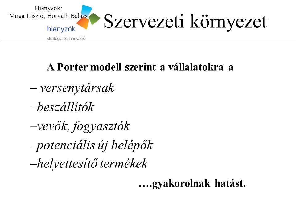 A Porter modell szerint a vállalatokra a – versenytársak –beszállítók –vevők, fogyasztók –potenciális új belépők –helyettesítő termékek ….gyakorolnak