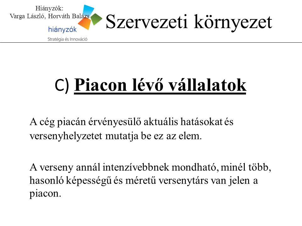 Hiányzók: Varga László, Horváth Balázs Szervezeti környezet C) Piacon lévő vállalatok A cég piacán érvényesülő aktuális hatásokat és versenyhelyzetet mutatja be ez az elem.