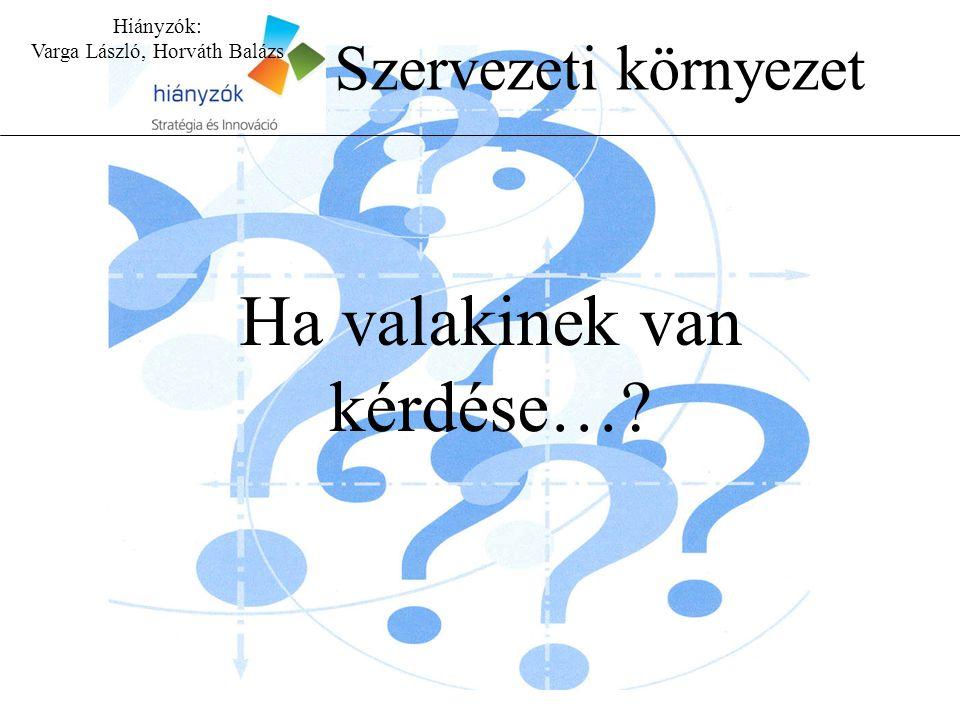 Hiányzók: Varga László, Horváth Balázs Szervezeti környezet Ha valakinek van kérdése…