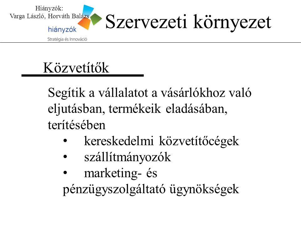 Hiányzók: Varga László, Horváth Balázs Közvetítők Szervezeti környezet Segítik a vállalatot a vásárlókhoz való eljutásban, termékeik eladásában, terítésében kereskedelmi közvetítőcégek szállítmányozók marketing- és pénzügyszolgáltató ügynökségek