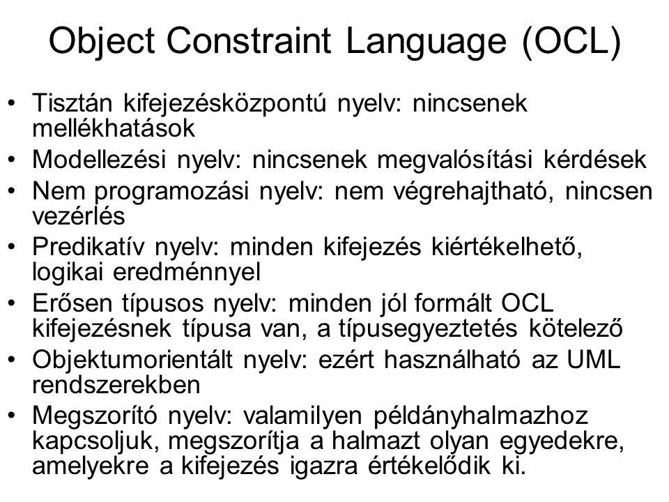 Az OCL használati környezetei Osztályok, típusok és kapcsolatok invariánsai Sztereotípusok típusinvariánsai Műveletek elő- és utófeltételei Tevékenység- és állapotdiagramok őrfeltételei Navigációt leíró nyelv Műveletek megszorításai A grafikus nyelv is megfogalmazható OCL megszorításként.