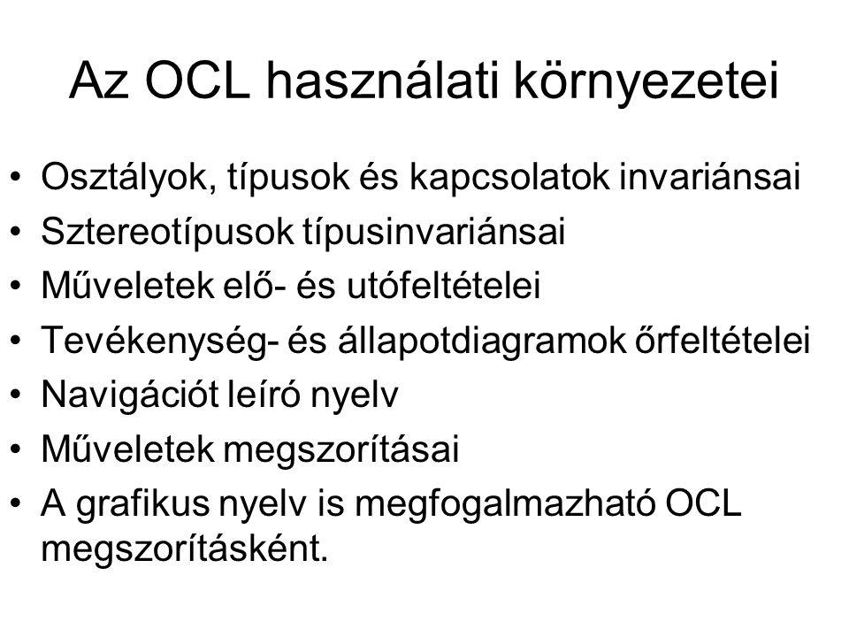 Az OCL használati környezetei Osztályok, típusok és kapcsolatok invariánsai Sztereotípusok típusinvariánsai Műveletek elő- és utófeltételei Tevékenysé