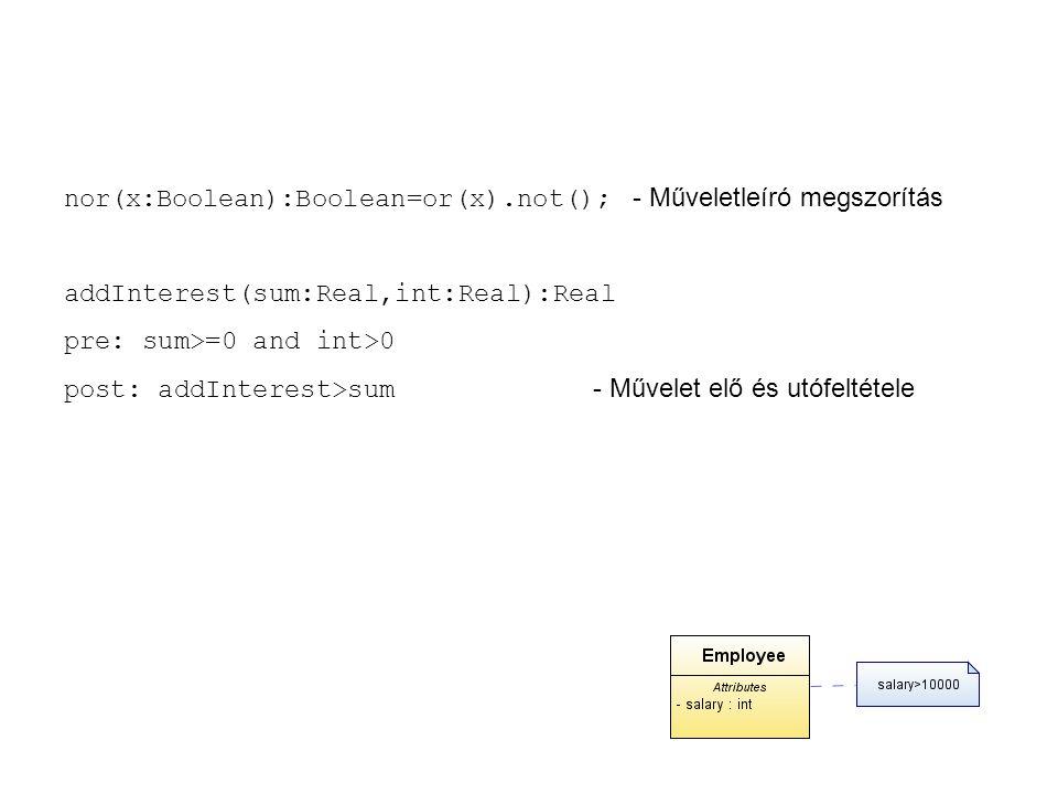 """Osztályjellemzők (Feature) Láthatóság (visibility): """"+ nyilvános (public), """"# (protected) védett, """"- rejtett (private) Az osztály szintű attribútumot aláhúzással jelöli az UML (A Rose-ban $ jel jelöli) Többszörösség (multiplicity): [1..3], vektormegadás Rendezettség {ordering} Tulajdonságok (attribute): Eljárások (method):"""