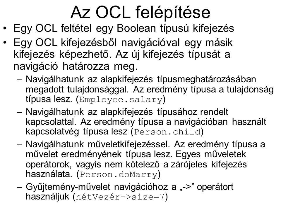 Az OCL típusai Alaptípusok: Boolean, Integer, Real, String Típusmegfelelés: egy típus megfelel az őstípusainak tranzitíven is OclAny : minden típus őstípusa OclType : amelynek a típusok a példányai Collection Set, Bag, Sequence Set(T), Bag(T), Sequence(T)