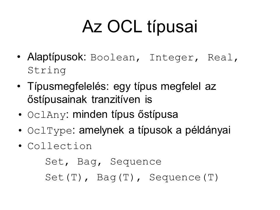Literális konstansok OCL-ben Set(alma, körte, barack) Bag(alma, alma, körte) Sequence(0, 1, 1, 2, 3, 5, 8)