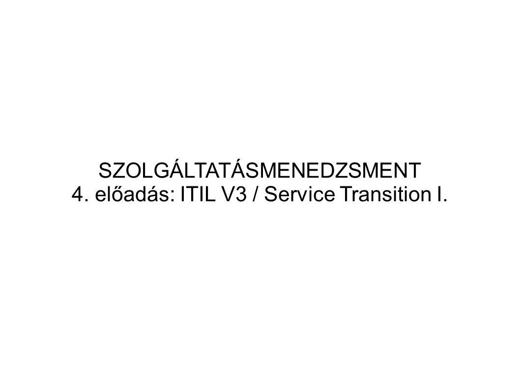 ITIL Transition Planning and Support: KPI-k  Projektek száma  Projektek alkalmazkodása az időtervekhez  Projektek alkalmazkodása a ktsvetéshez  Az egyes projektek különböző kiadásainak (Relase) száma