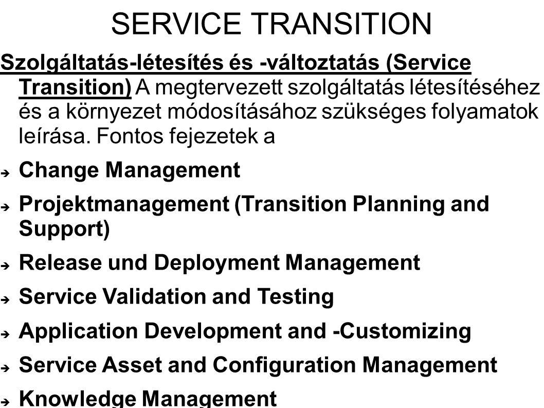 SERVICE TRANSITION Szolgáltatás-létesítés és -változtatás (Service Transition) A megtervezett szolgáltatás létesítéséhez és a környezet módosításához