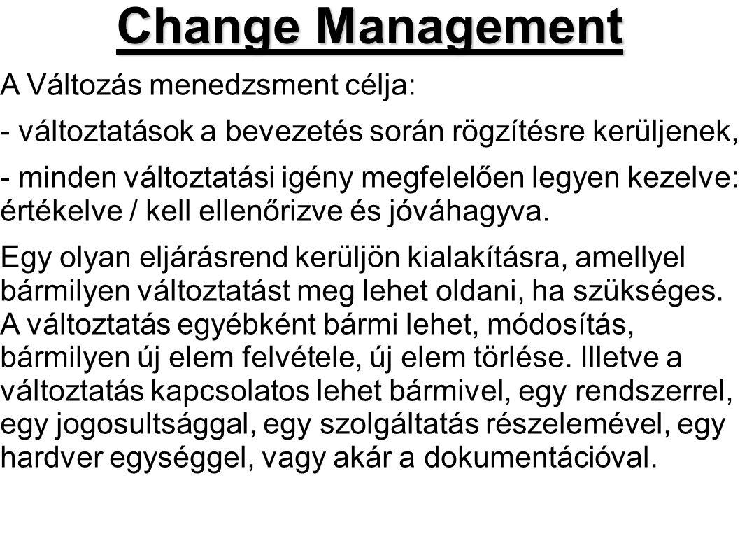 Change Management A Változás menedzsment célja: - változtatások a bevezetés során rögzítésre kerüljenek, - minden változtatási igény megfelelően legye