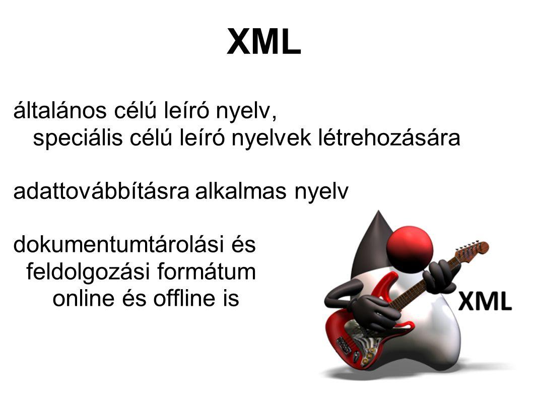XML általános célú leíró nyelv, speciális célú leíró nyelvek létrehozására adattovábbításra alkalmas nyelv dokumentumtárolási és feldolgozási formátum online és offline is