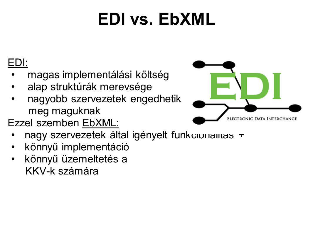 Miért hasonlítjuk az XML-t az EDI-hez.Az EDI és az XML is a tartalmazott adatok leírására készült.