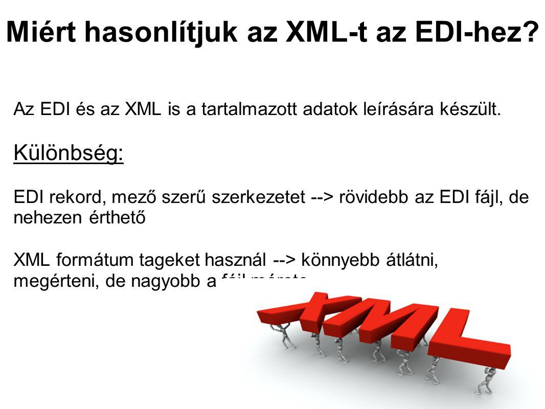 Miért hasonlítjuk az XML-t az EDI-hez. Az EDI és az XML is a tartalmazott adatok leírására készült.