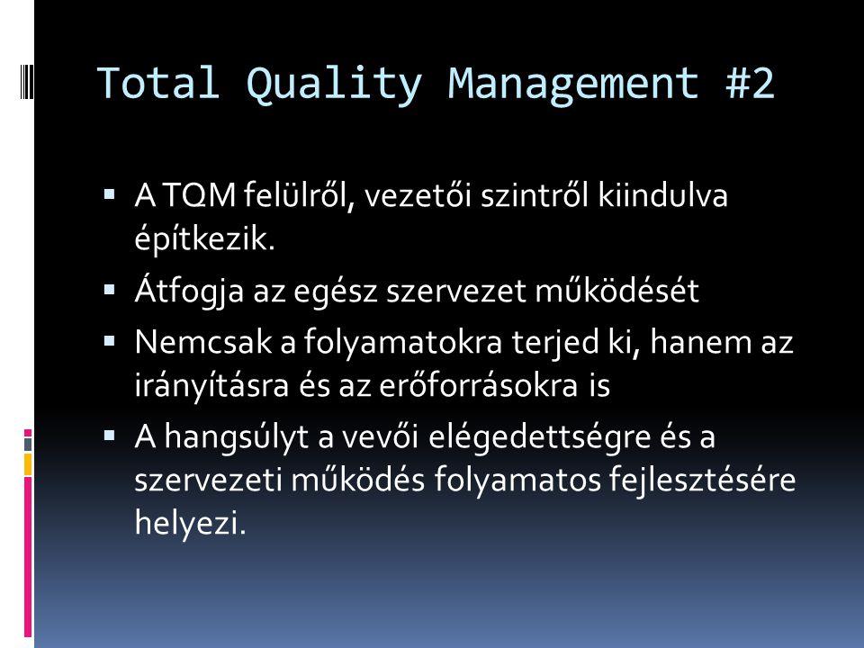 Total Quality Management #2  A TQM felülről, vezetői szintről kiindulva építkezik.  Átfogja az egész szervezet működését  Nemcsak a folyamatokra te