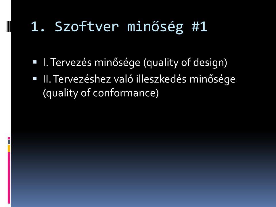 1. Szoftver minőség #1  I. Tervezés minősége (quality of design)  II. Tervezéshez való illeszkedés minősége (quality of conformance)