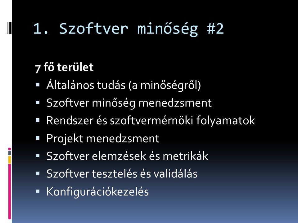 1. Szoftver minőség #2 7 fő terület  Általános tudás (a minőségről)  Szoftver minőség menedzsment  Rendszer és szoftvermérnöki folyamatok  Projekt