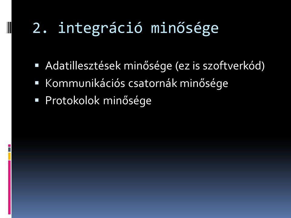 2. integráció minősége  Adatillesztések minősége (ez is szoftverkód)  Kommunikációs csatornák minősége  Protokolok minősége
