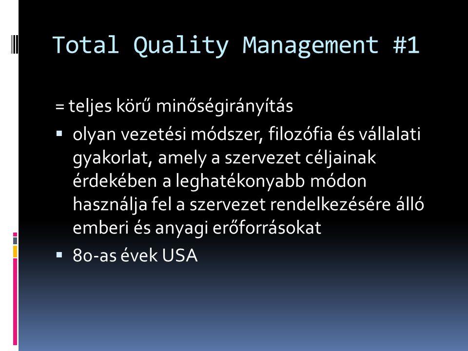 Total Quality Management #1 = teljes körű minőségirányítás  olyan vezetési módszer, filozófia és vállalati gyakorlat, amely a szervezet céljainak érd