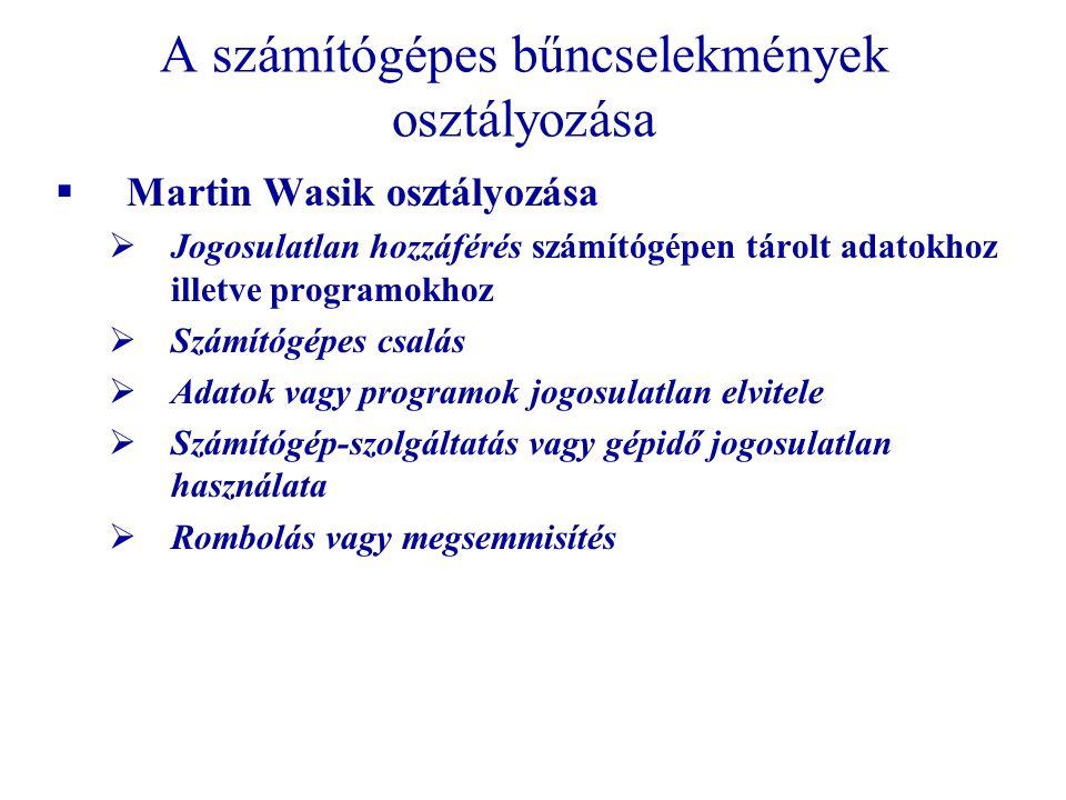 A számítógépes bűncselekmények osztályozása  Martin Wasik osztályozása  Jogosulatlan hozzáférés számítógépen tárolt adatokhoz illetve programokhoz  Számítógépes csalás  Adatok vagy programok jogosulatlan elvitele  Számítógép-szolgáltatás vagy gépidő jogosulatlan használata  Rombolás vagy megsemmisítés