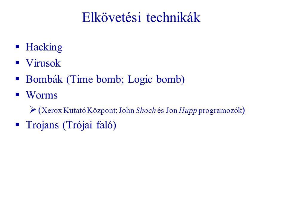 Elkövetési technikák  Hacking  Vírusok  Bombák (Time bomb; Logic bomb)  Worms  ( Xerox Kutató Központ; John Shoch és Jon Hupp programozók )  Trojans (Trójai faló)