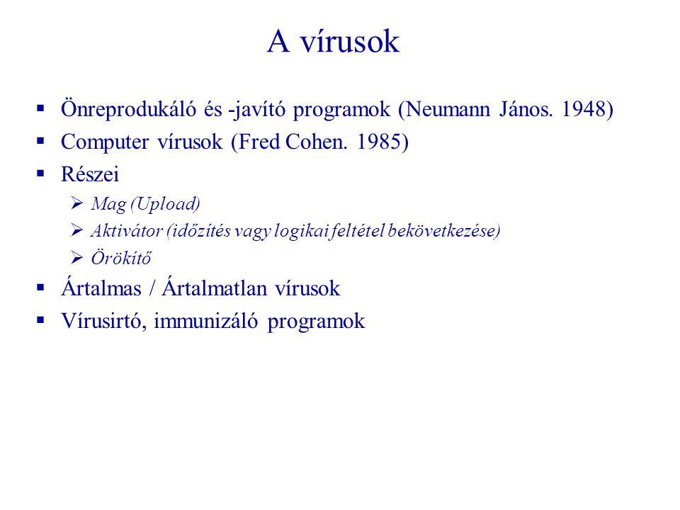 A vírusok  Önreprodukáló és -javító programok (Neumann János.
