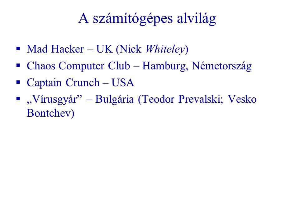 """A számítógépes alvilág  Mad Hacker – UK (Nick Whiteley)  Chaos Computer Club – Hamburg, Németország  Captain Crunch – USA  """"Vírusgyár – Bulgária (Teodor Prevalski; Vesko Bontchev)"""