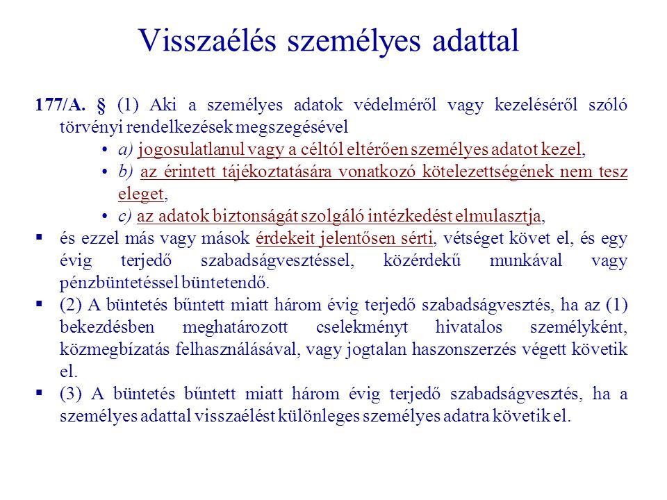 Visszaélés személyes adattal 177/A.