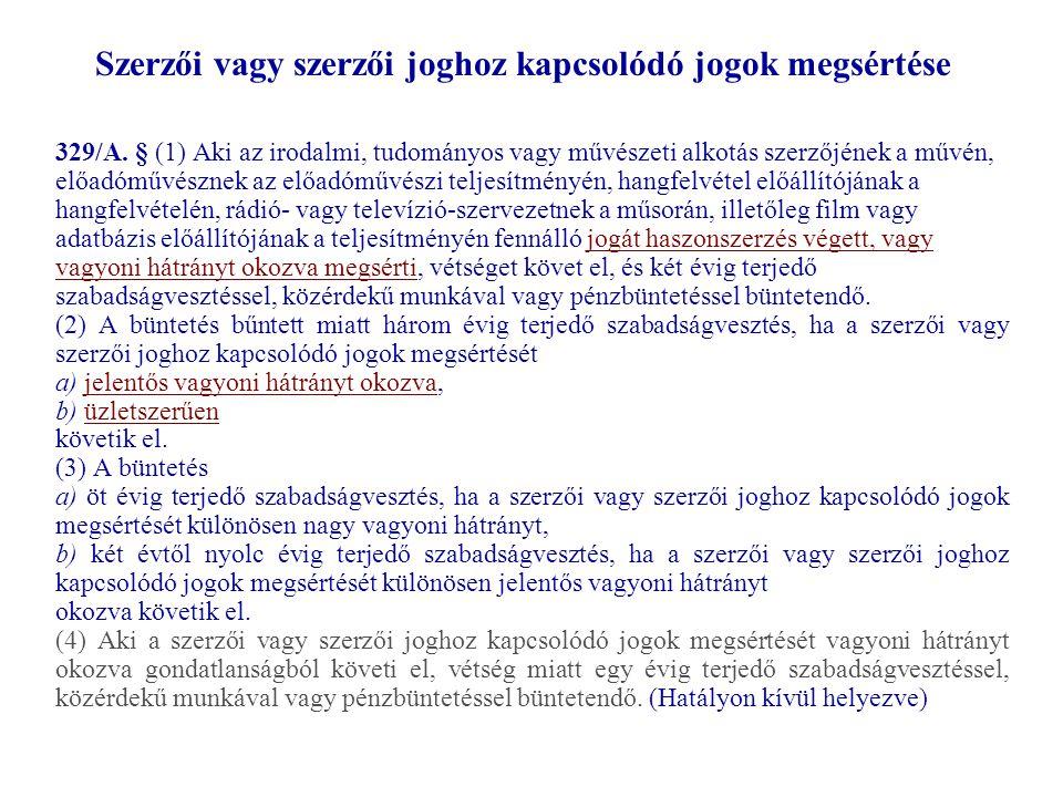 Szerzői vagy szerzői joghoz kapcsolódó jogok megsértése 329/A.