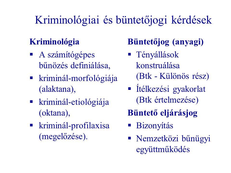 Kriminológiai és büntetőjogi kérdések Kriminológia  A számítógépes bűnözés definiálása,  kriminál-morfológiája (alaktana),  kriminál-etiológiája (oktana),  kriminál-profilaxisa (megelőzése).