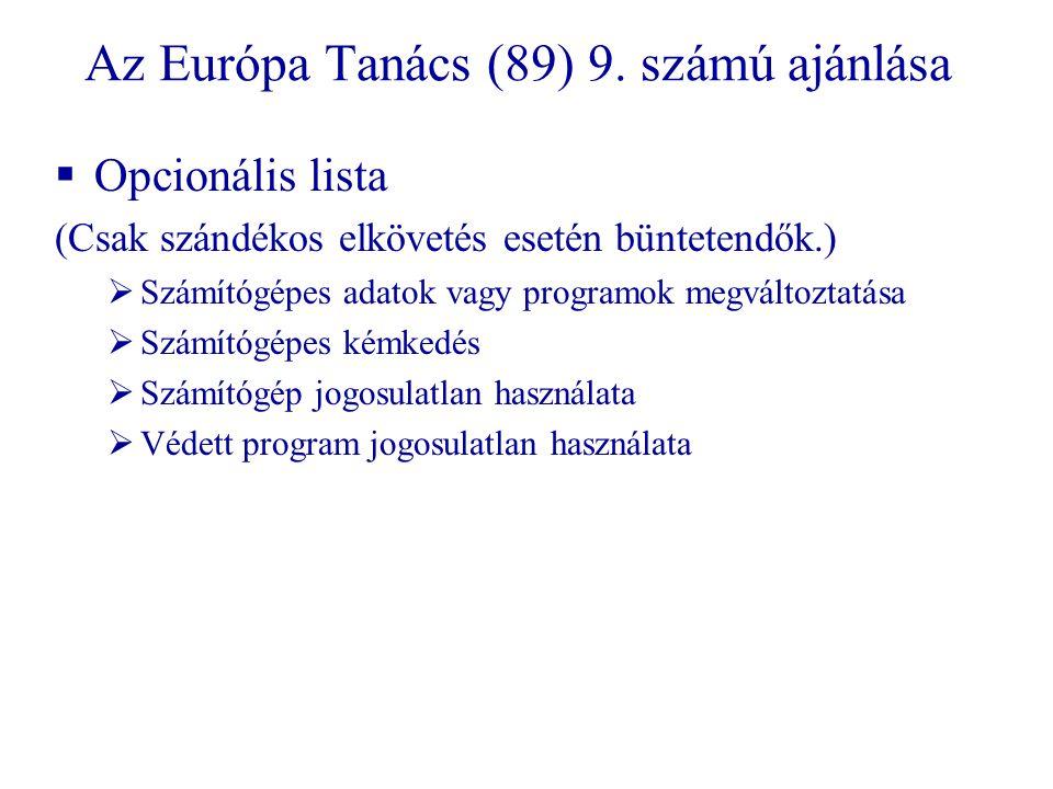 Az Európa Tanács (89) 9.