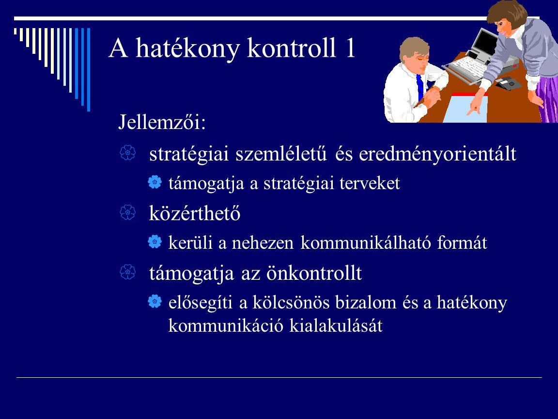 A hatékony kontroll 1 Jellemzői:  stratégiai szemléletű és eredményorientált  támogatja a stratégiai terveket  közérthető  kerüli a nehezen kommun