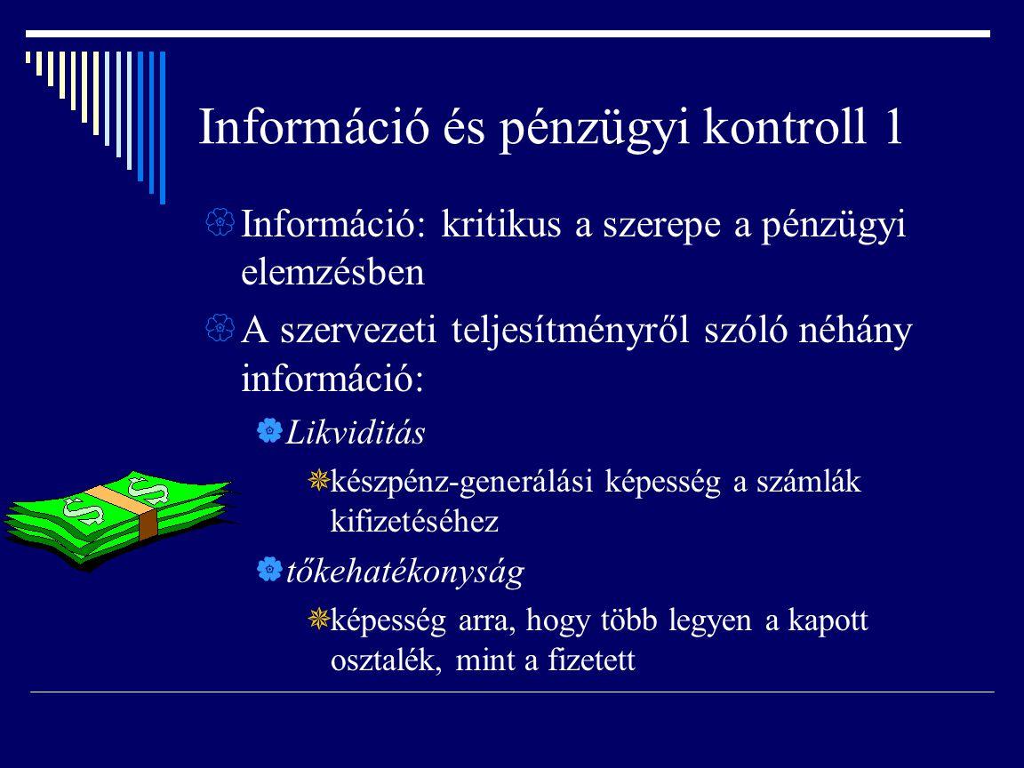 Információ és pénzügyi kontroll 1  Információ: kritikus a szerepe a pénzügyi elemzésben  A szervezeti teljesítményről szóló néhány információ:  Lik