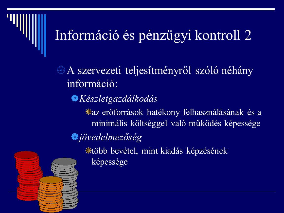 Információ és pénzügyi kontroll 2  A szervezeti teljesítményről szóló néhány információ:  Készletgazdálkodás  az erőforrások hatékony felhasználásá
