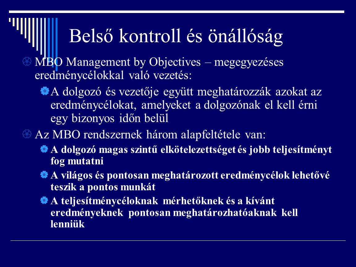 Belső kontroll és önállóság  MBO Management by Objectives – megegyezéses eredménycélokkal való vezetés:  A dolgozó és vezetője együtt meghatározzák