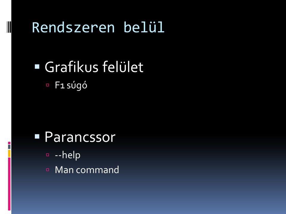 Rendszeren belül  Grafikus felület  F1 súgó  Parancssor  --help  Man command