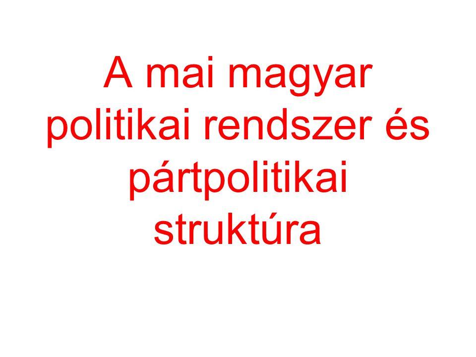 A 2002-es választások eredményei A parlamentben négy frakció: FIDESZ, MDF, MSZP, SZDSZ Koalíció: MSZP – SZDSZ Miniszterelnök: Medgyessy Péter