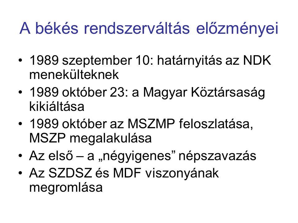 A békés rendszerváltás előzményei 1989 szeptember 10: határnyitás az NDK menekülteknek 1989 október 23: a Magyar Köztársaság kikiáltása 1989 október a
