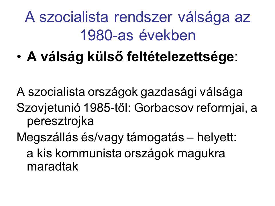 Válságjelenségek Magyarországon az 1980-as években A válság tényezői: Gazdasági válság (eladósodás, infláció, elszegényedés, stb) Társadalmi válság Önpusztító jelenségek Korrupció Tudati- és értékválság Politikai válság