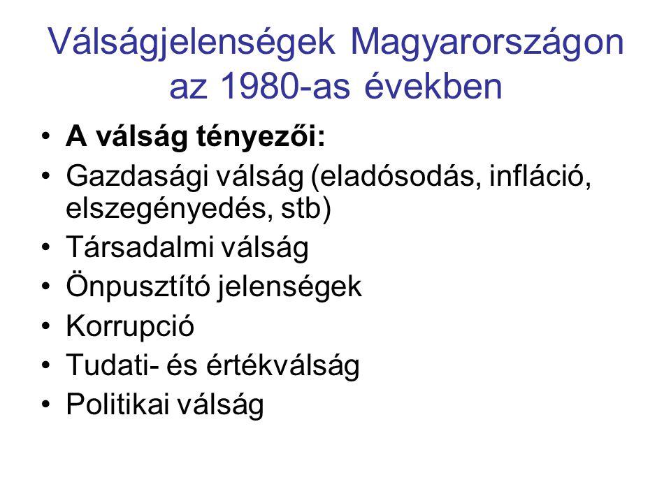 Válságjelenségek Magyarországon az 1980-as években A válság tényezői: Gazdasági válság (eladósodás, infláció, elszegényedés, stb) Társadalmi válság Ön
